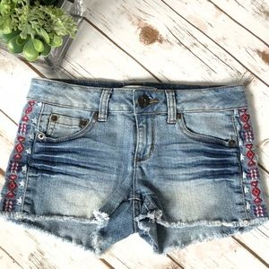 Pants - Embroidered Cut Off Jean Shorts, So Cute!